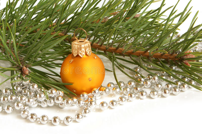 Download Christmas Ball And Green Spruce Branch Stock Image - Image: 16726351
