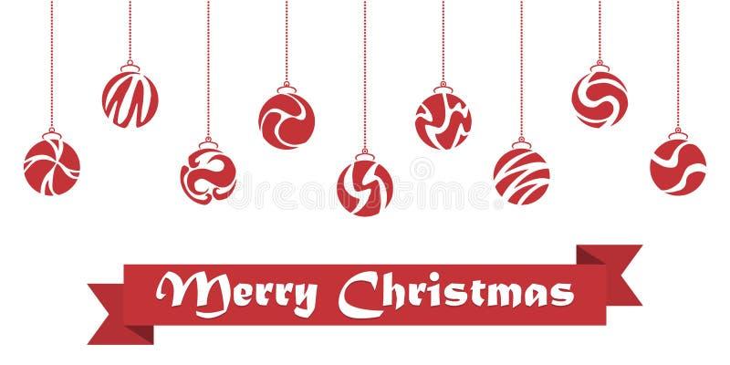 Christmas ball handing on string background. Vector illustration.  stock illustration