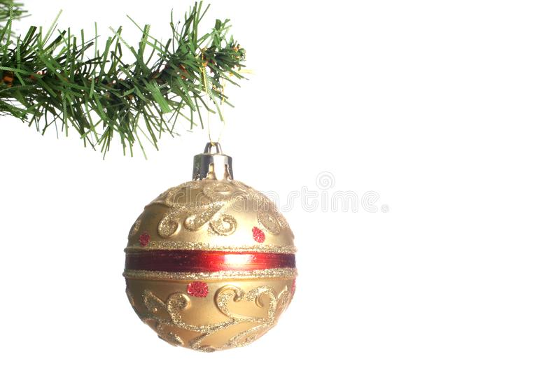 Christmas ball hanged on a fir branch of a christmas tree with copy space isolated on white background stock images