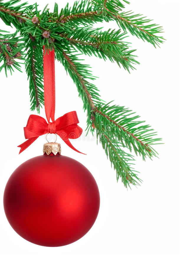 christmas ball hanging on a fir tree branch isolated on. Black Bedroom Furniture Sets. Home Design Ideas