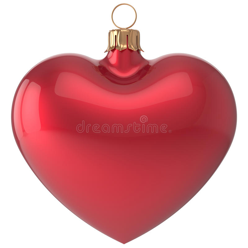 Free Christmas Ball Heart New Year S Eve Bauble Decoration Red Stock Photos - 63607553