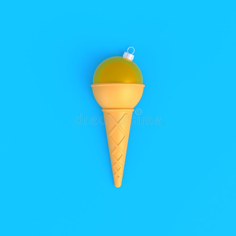 Christmas ball in ice cream cone abstract minimal blue background vector illustration