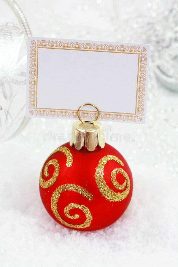 Christmas ball with label stock image