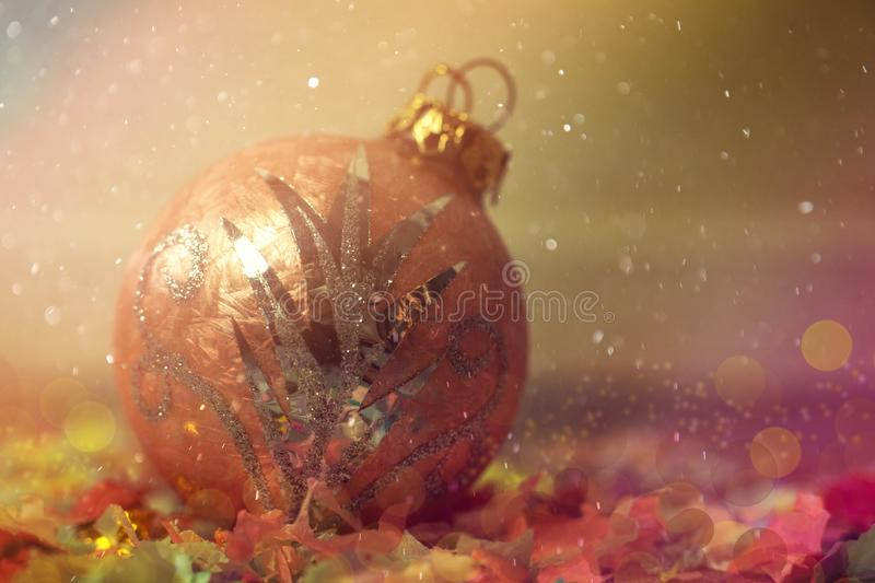 Christmas Ball Macro as Christmas or Winter Background with Copy Space.  royalty free stock images