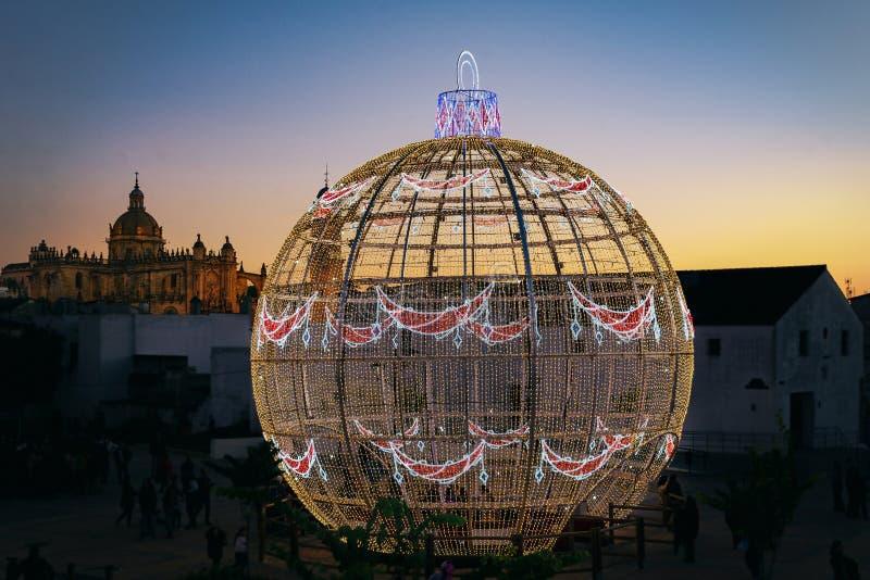 Christmas ball of 12 meters stock photo