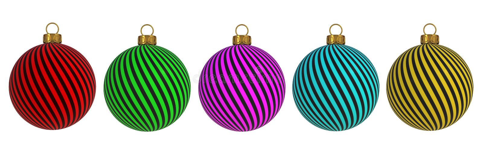 Christmas ball New Year`s Eve decoration convolution lines bauble wintertime hanging adornment souvenir. Traditional ornament hap stock illustration