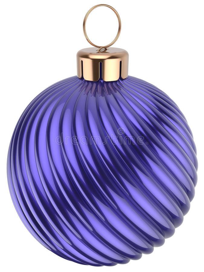 Christmas ball New Years Eve bauble decoration blue purple. Wintertime ornament icon traditional. Shiny Merry Xmas winter holidays symbol classic. 3d render vector illustration
