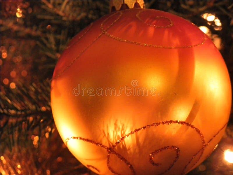 Christmas ball orange tree royalty free stock photo
