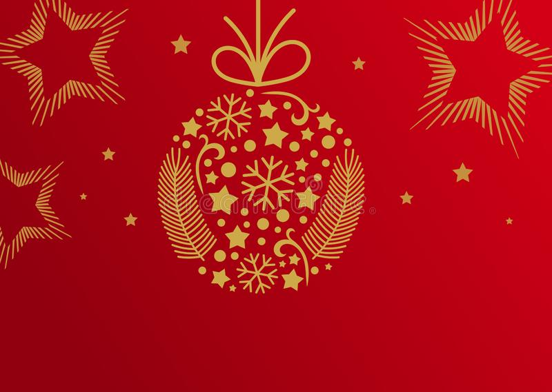 Christmas Ball Ornament, Red And Golden Card Background ...
