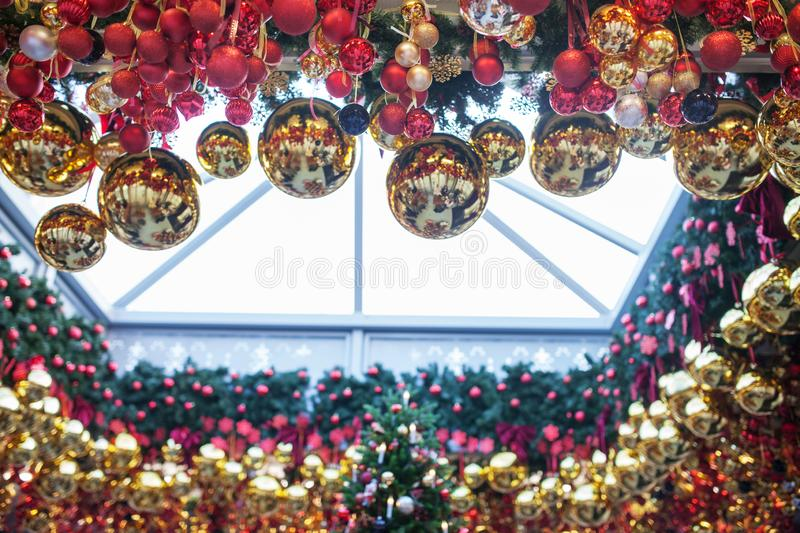 Christmas ball ornaments decoration. Winter holydays. Happy new year concept stock photography
