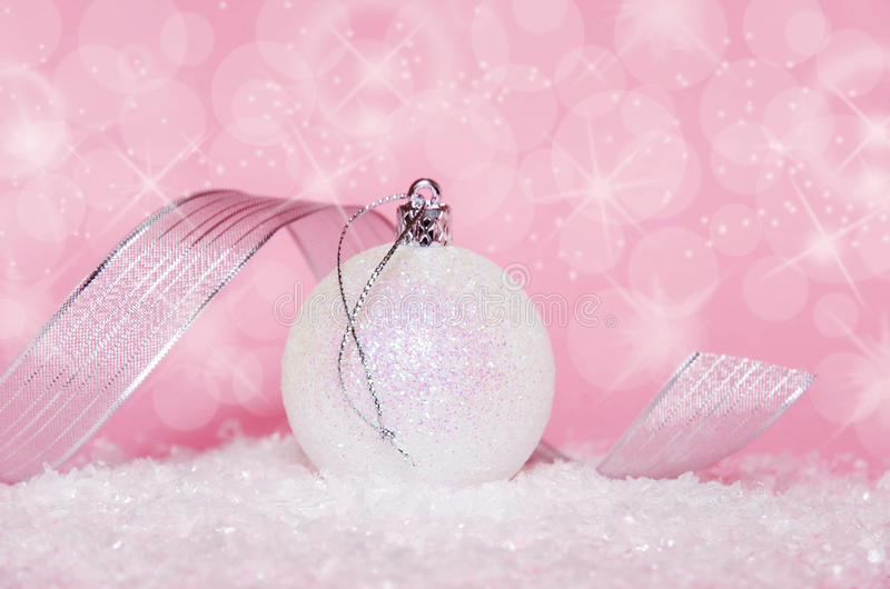 Christmas ball in pink royalty free stock photography