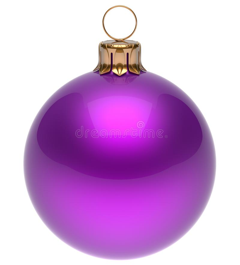 Christmas ball purple New Year`s Eve bauble decoration blank. Christmas ball purple New Year`s Eve bauble wintertime decoration glossy sphere hanging adornment royalty free illustration