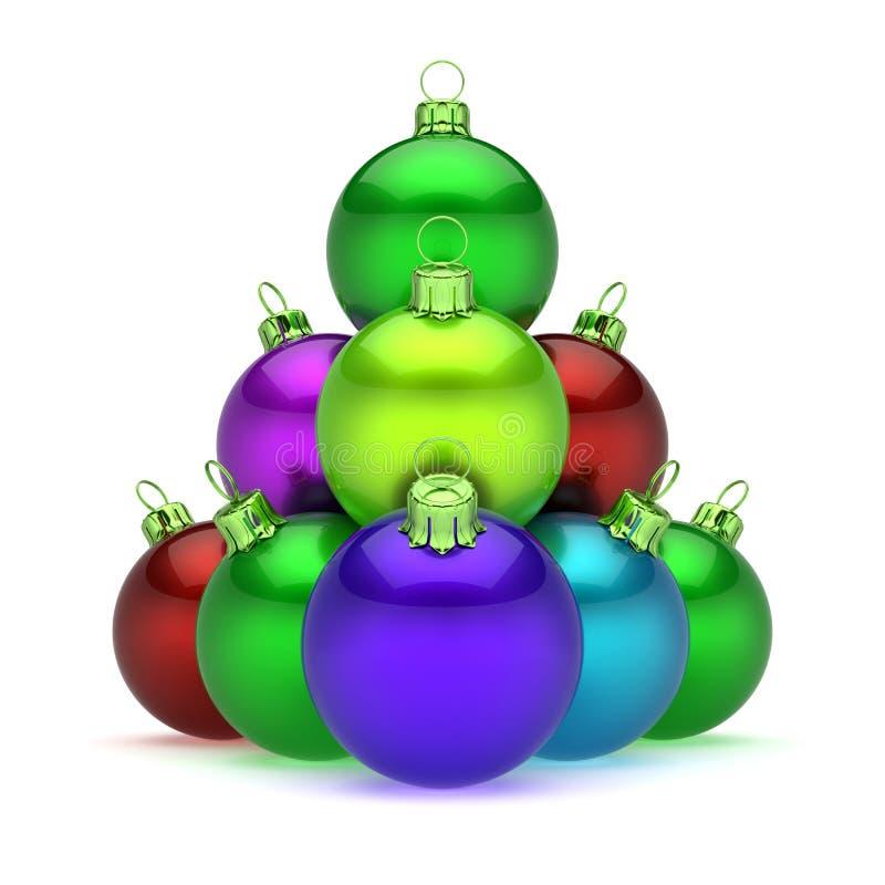 Christmas ball pyramid arranged shiny colorful royalty free illustration