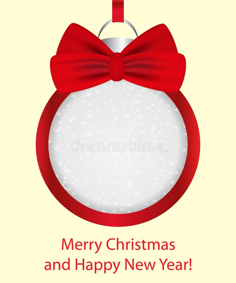 Christmas ball with red bow. Decoration frame for banner, card, poster. Vector stock illustration