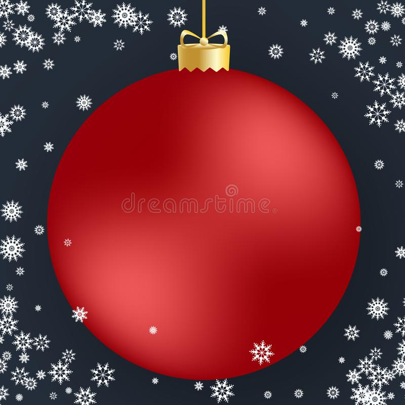 Christmas ball. Red Christmas ball and white snowflakes on dark background. For design Christmas and New Year banners stock illustration