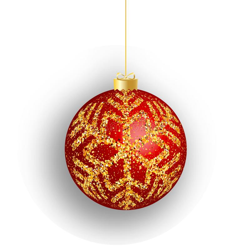 Christmas ball. Red Christmas ball isolated on white background. for design Christmas and New Year banners and cards stock illustration