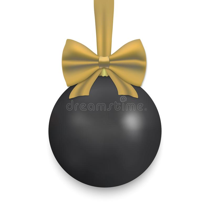 Christmas ball with ribbon and a bow. Black Christmas ball with ribbon and a bow, isolated on white background. Vector illustration stock illustration