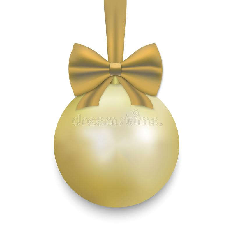 Christmas ball with ribbon and a bow. Gold Christmas ball with ribbon and a bow, isolated on white background. Vector illustration stock illustration