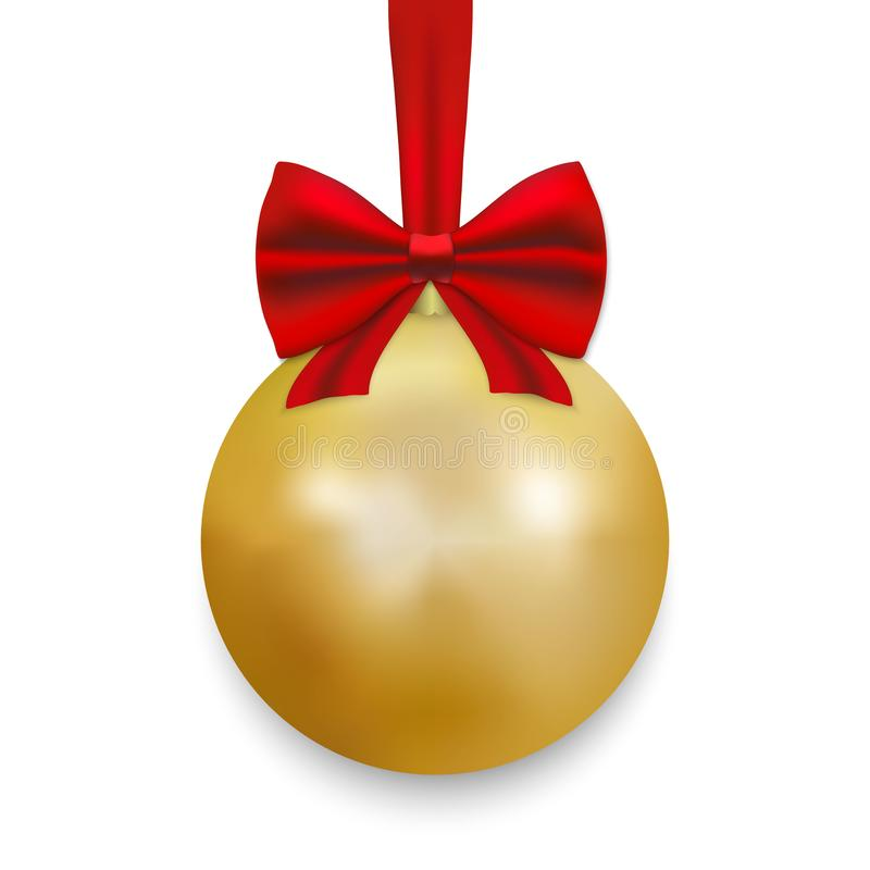 Christmas ball with ribbon and a bow. Gold Christmas ball with ribbon and a bow, isolated on white background. Vector illustration vector illustration