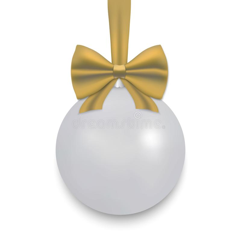 Christmas ball with ribbon and a bow. White Christmas ball with ribbon and a bow, isolated on white background. Vector illustration vector illustration