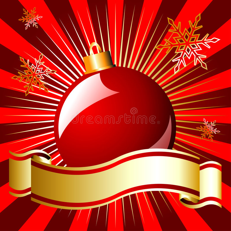 Download Christmas Ball And Ribbon Over Red Stock Vector - Illustration: 7087737