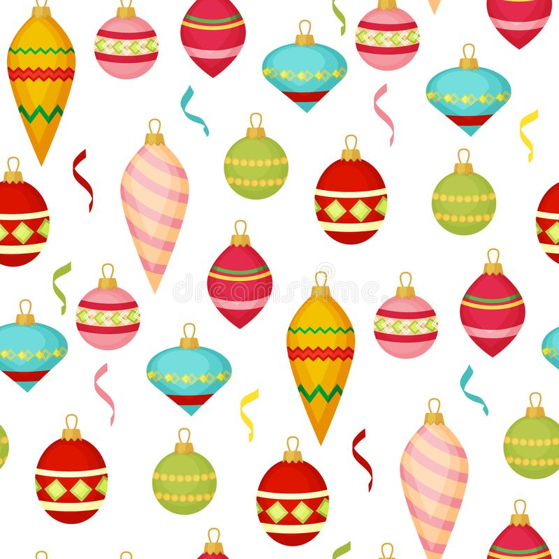 Christmas ball seamless pattern colourful winter holiday xmas decoration sphere new year festival flat design vector royalty free illustration