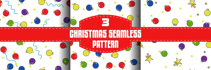 Christmas ball seamless patterns set, flat outline style stock illustration