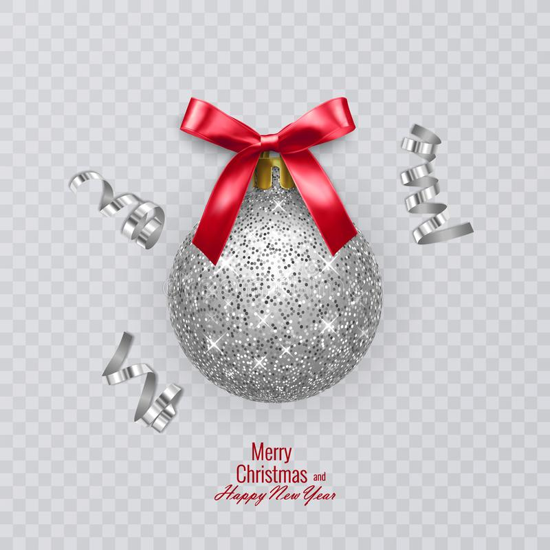 Christmas ball with shiny, silver texture and red bow. Vector illustration on transparent background. Christmas ball with shiny, silver texture and red bow royalty free illustration