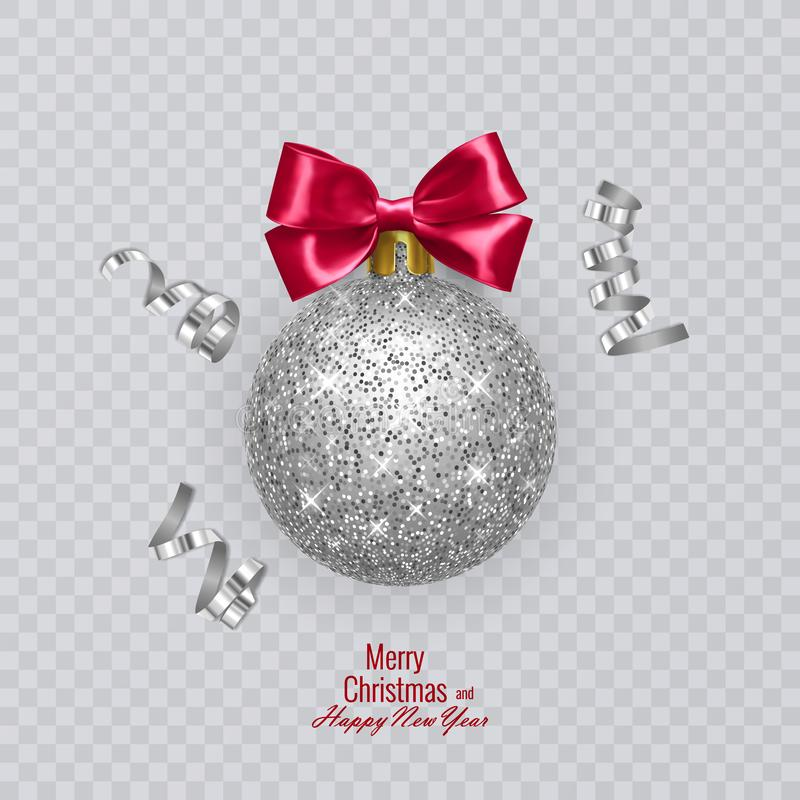 Christmas ball with shiny, silver texture and red bow. Vector illustration on transparent background. Christmas ball with shiny, silver texture and red bow vector illustration
