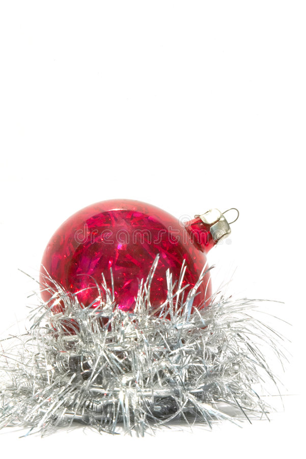 Christmas Ball And Silver Tinsel Royalty Free Stock Photo