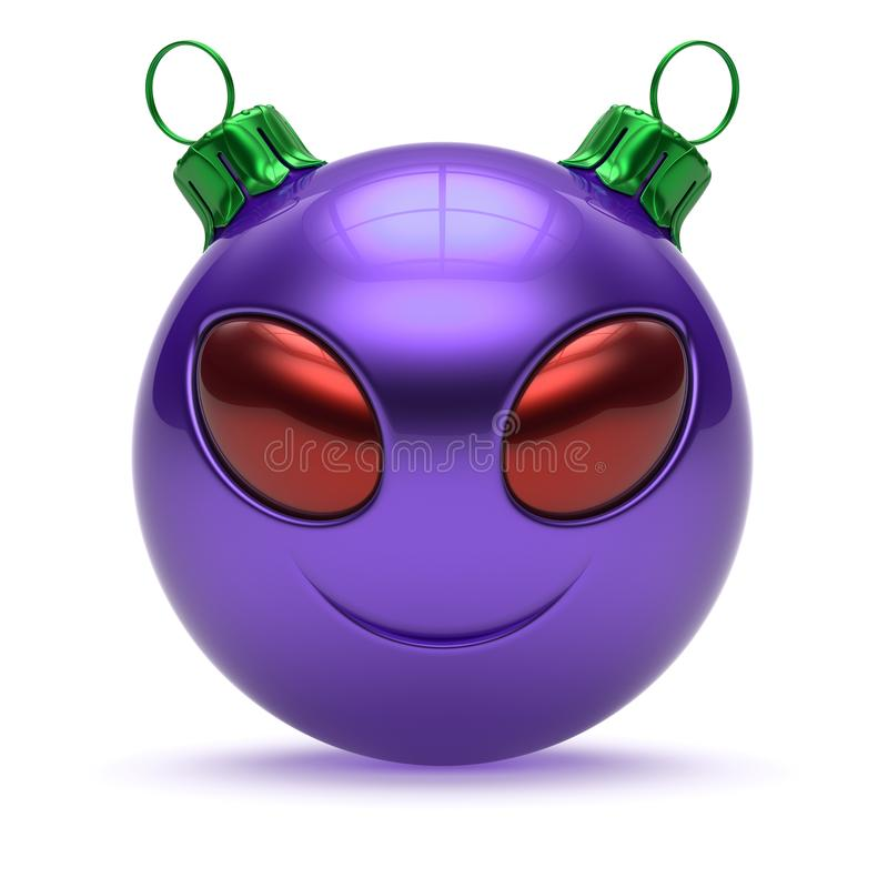 Christmas ball smiling alien avatar decoration purple stock illustration