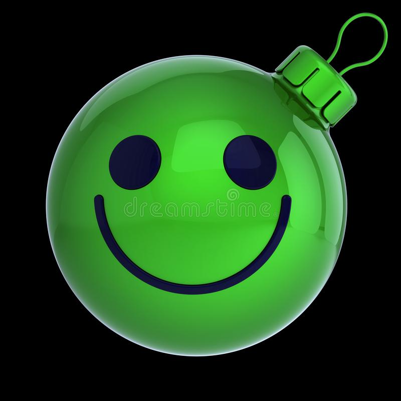 Christmas ball smiling face green, New Years Eve bauble cartoon royalty free illustration