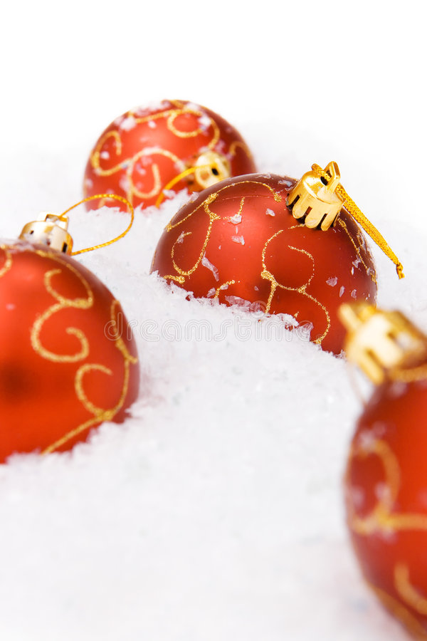 Christmas ball with snow royalty free stock image