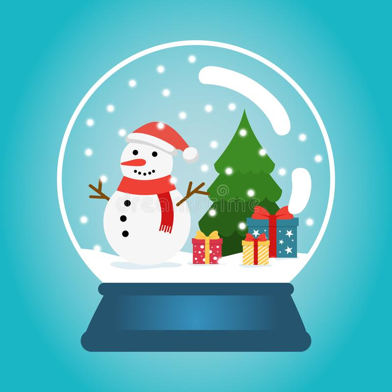 Christmas ball with snow, snowman and a Christmas tree. Snow globe with gift boxes. Winter christmas vector illustration vector illustration