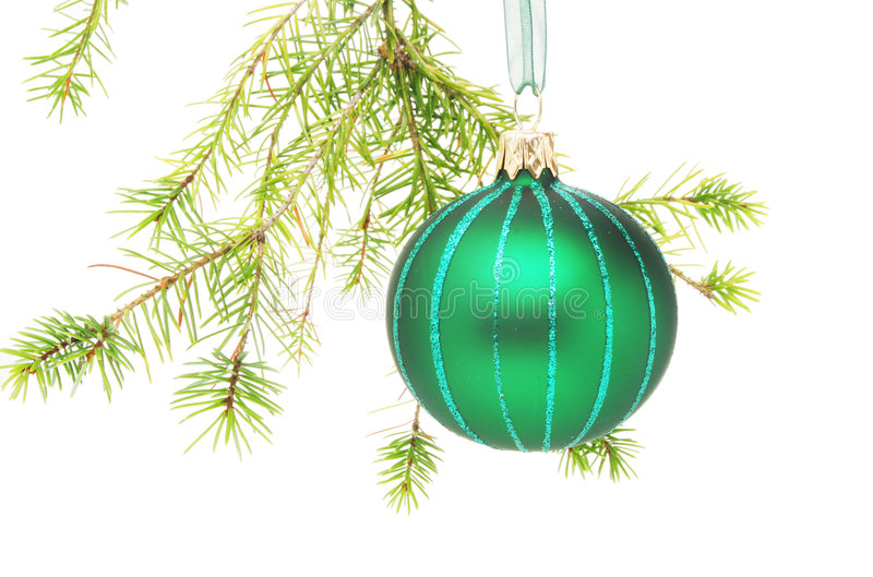 Download Christmas ball in tree stock photo. Image of pine, needle - 7122938