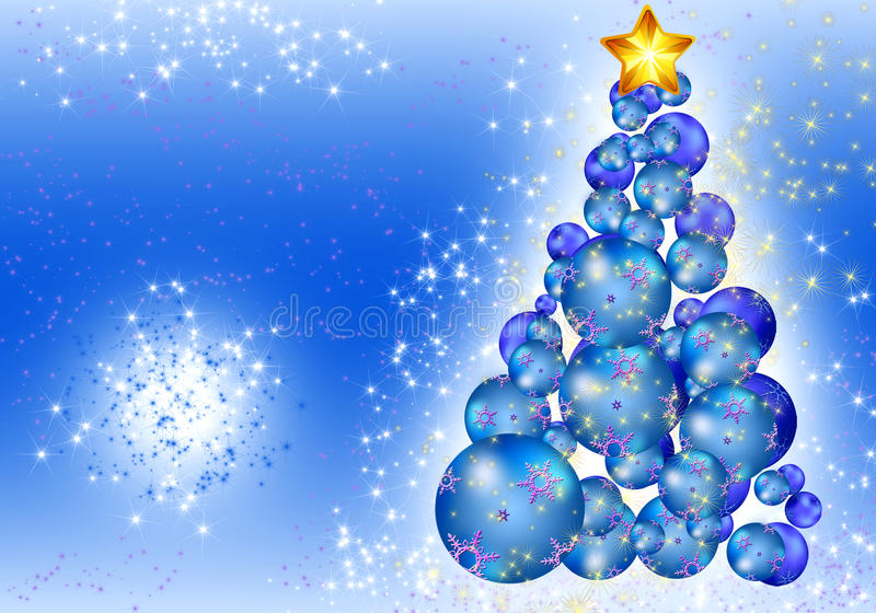 Christmas ball tree card royalty free illustration