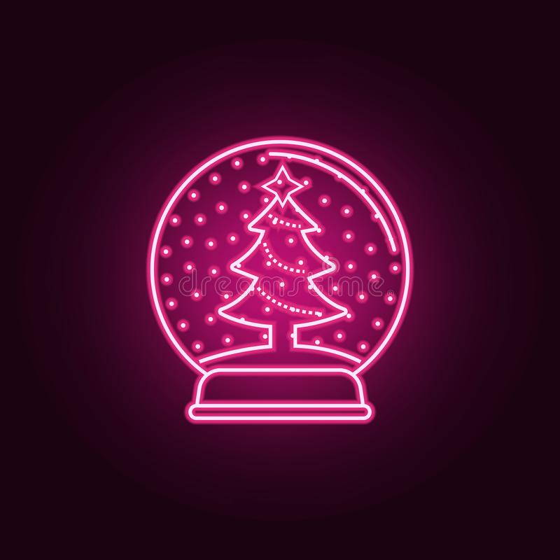 Christmas ball with a Christmas tree neon icon. Elements of web set. Simple icon for websites, web design, mobile app, info. Graphics on dark gradient vector illustration