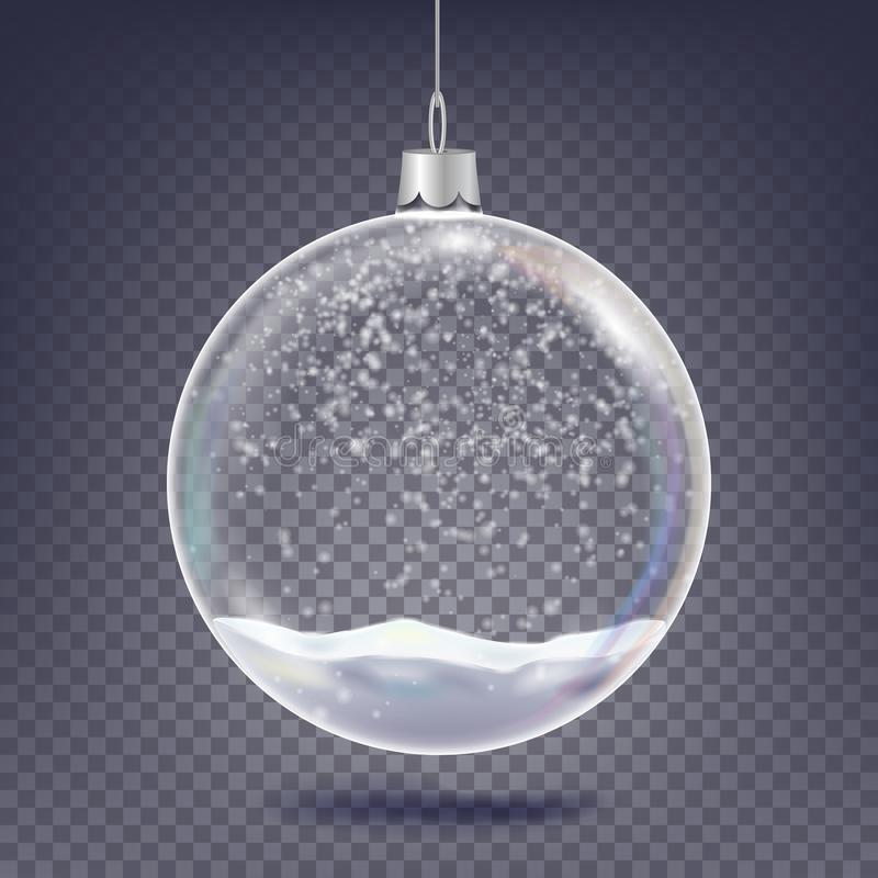 Christmas Ball Vector. Classic Xmas Tree Glass Decoration Element. Shining Snow, Snowflake. 3D Realistic. On royalty free illustration