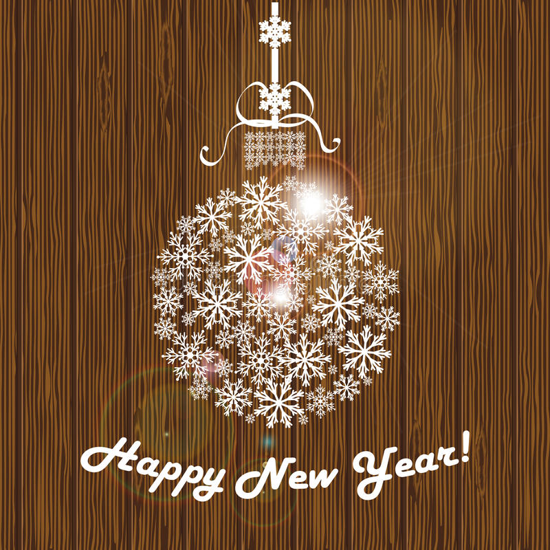 Christmas ball from white snowflakes with the words Happy New Year. On the background of wooden planks. Vector illustration vector illustration