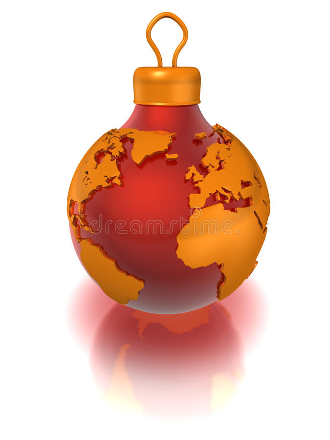 Christmas ball with world map, isolated royalty free illustration