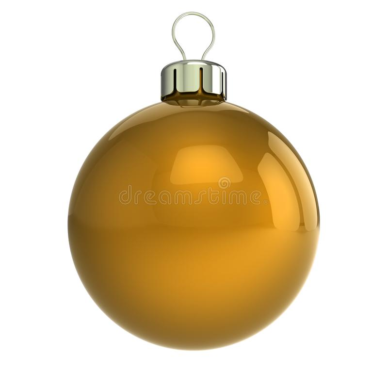 Christmas ball yellow closeup. New Years Eve bauble decoration. Hanging adornment golden modern. Traditional wintertime ornament. Merry Xmas. 3d illustration royalty free illustration