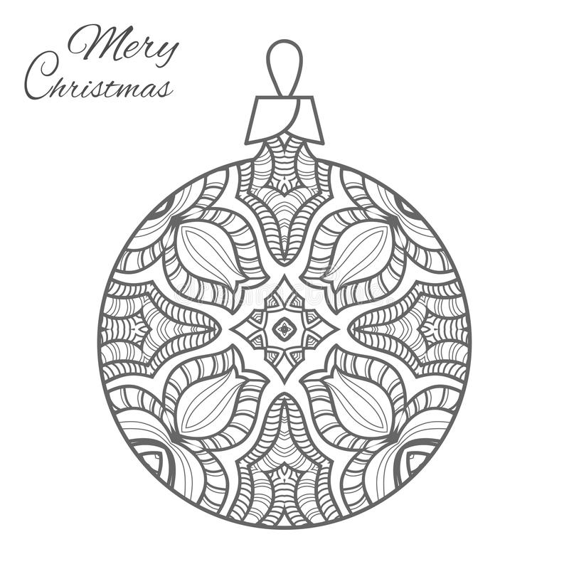 Download Christmas Ball Zen Doodle Art For Adult Coloring Book Page Stock Vector