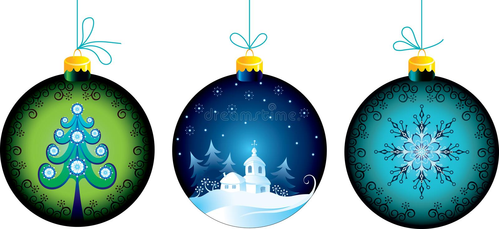 Download Christmas balls stock vector. Image of scroll, green - 20766465