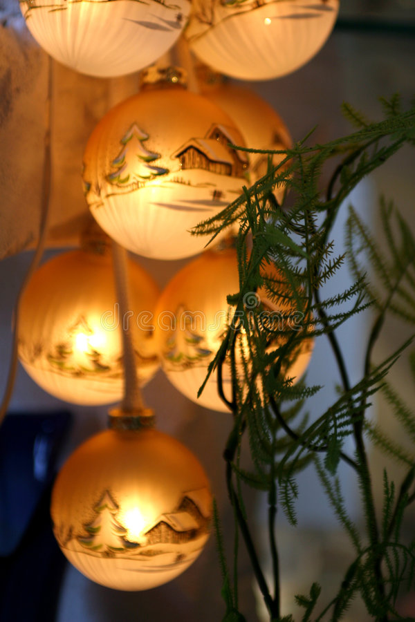 Christmas Balls. Beautiful christmas balls illuminated from within royalty free stock photo