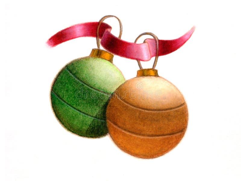 Christmas balls. A couple of christmas balls. Hand drawn illustration royalty free illustration