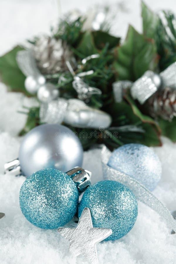 Christmas balls. On the snow royalty free stock photos