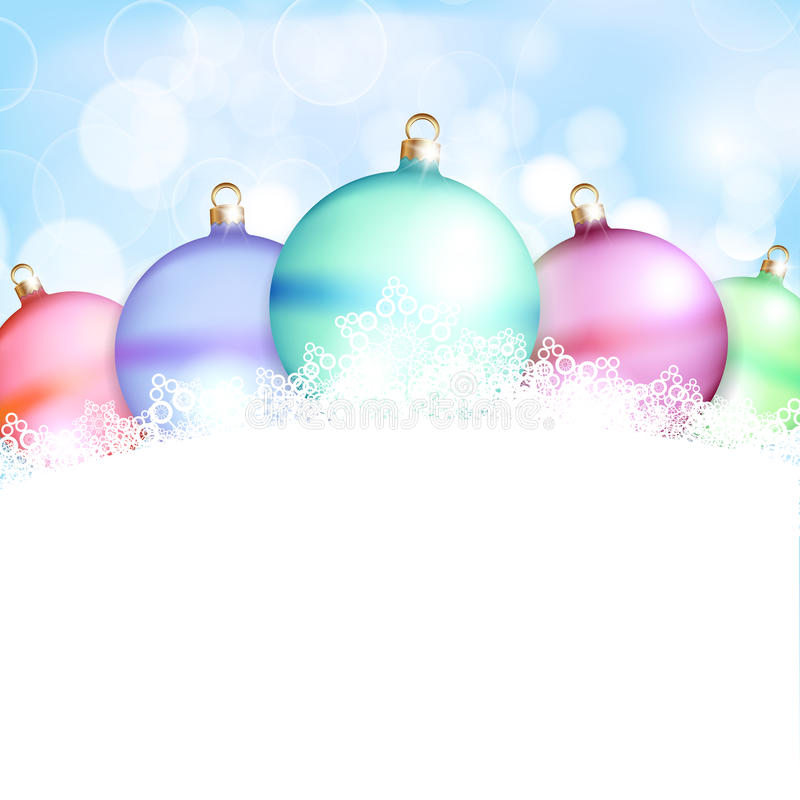 Free Christmas Balls And Blue Abstract Background Stock Images - 27709034