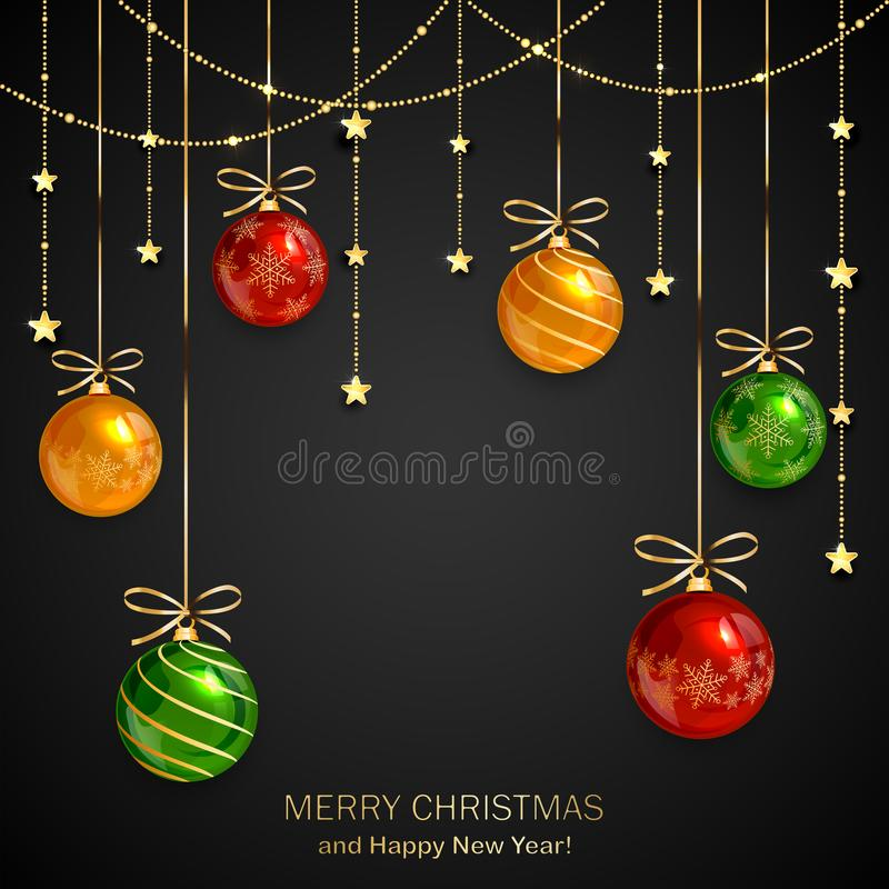 Free Christmas Balls And Golden Stars On Black Background Royalty Free Stock Photos - 163874088
