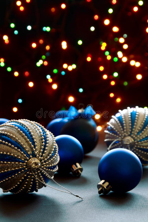 Christmas balls on the background lights. stock photos