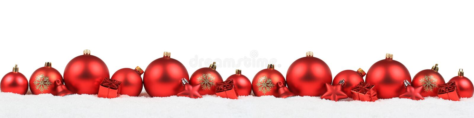 Christmas balls banner red decoration background snow winter iso stock photos